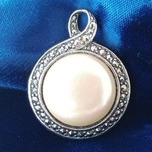 Vintage Jewelry - Large Marcasite & Pearl Slider